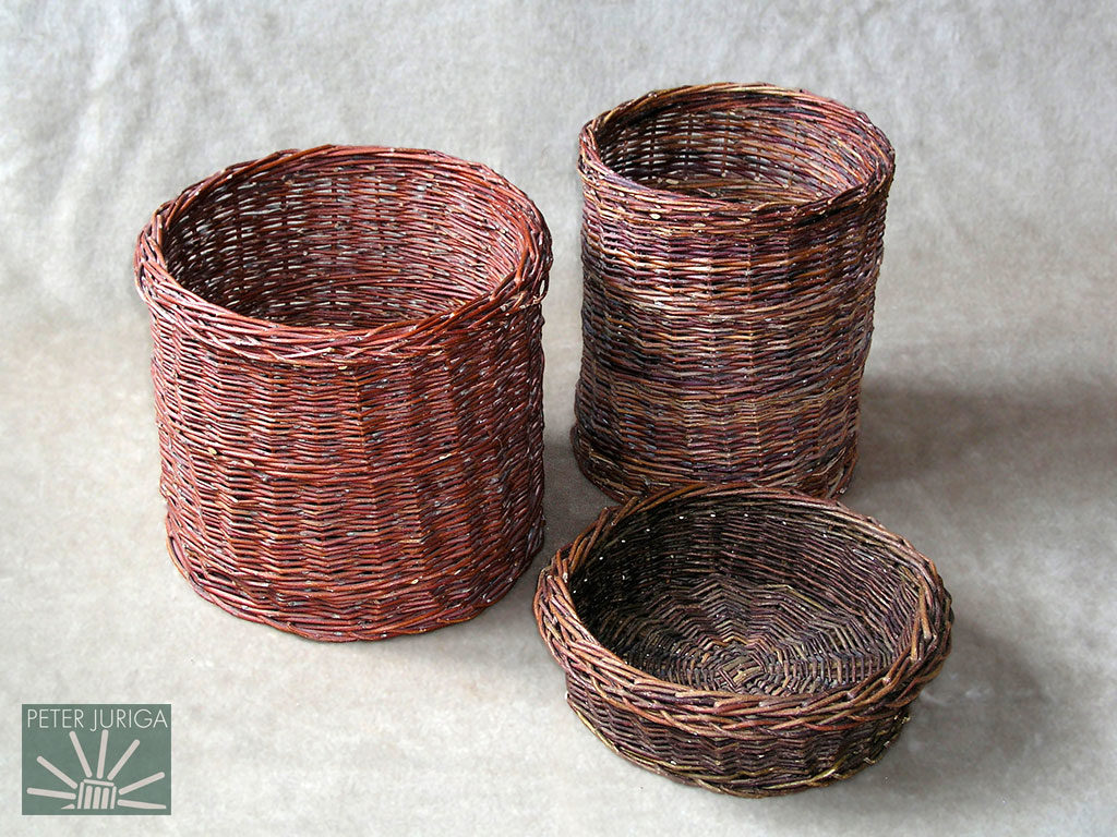 1992 I got better at finding good rods and practiced weaving with baskets like these. I preferred simple shapes without too much decoration | Peter Juriga