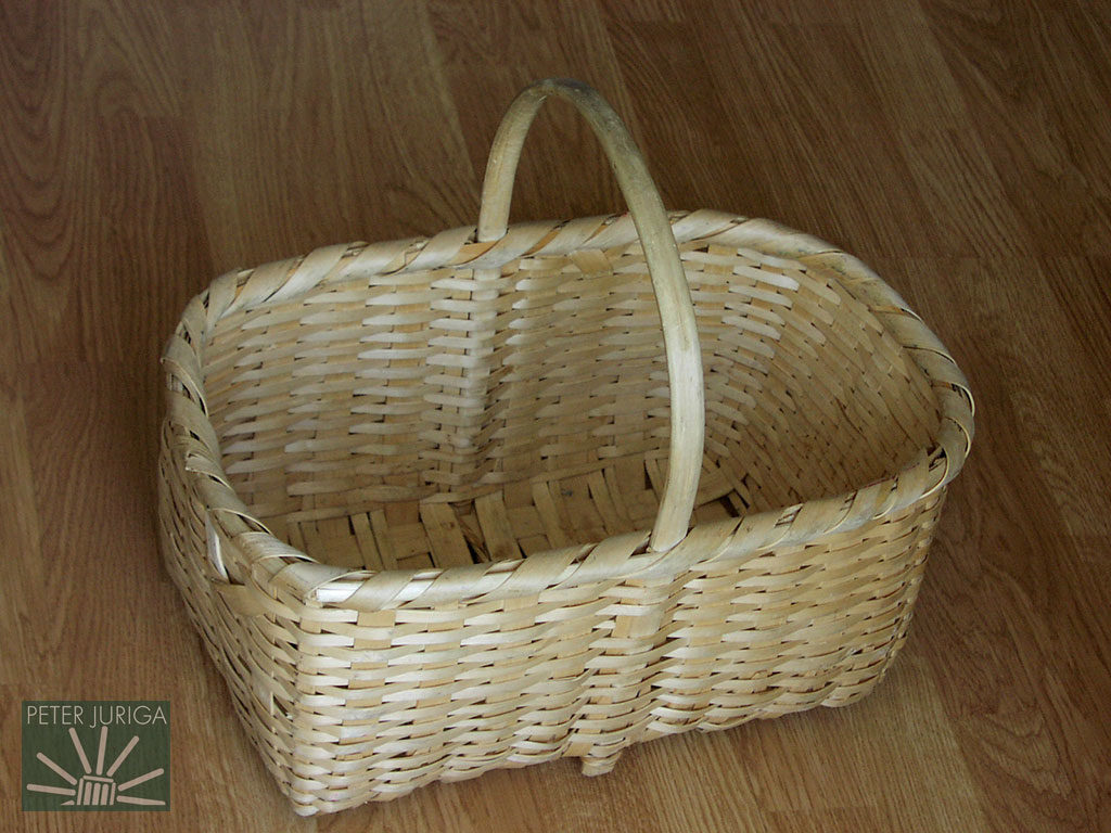 1995 This is a splint basket I made with prepared materials. The splints and handle bow were meticulously created by the late Mr. Moravcik of Badin, Slovakia | Peter Juriga