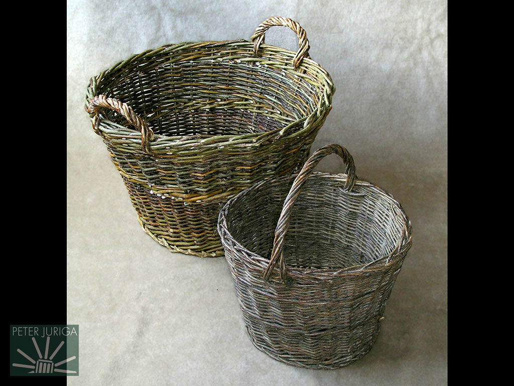 1997 On the left is the two-handled firewood basket I made for my father. The one on the right was made by a relative of mine | Peter Juriga