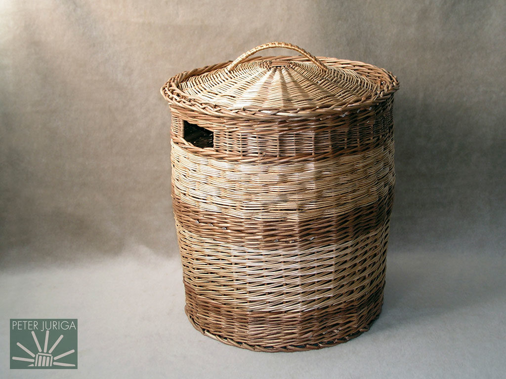 2003-05 The laundry basket on which I did several side weaving techniques, a handle gap, a decorative handle, and a lid | Peter Juriga